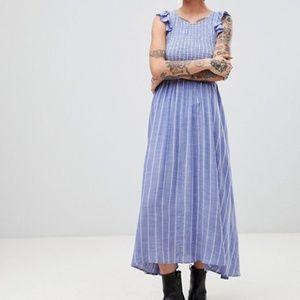 NEW FREE PEOPLE Chambray Butterflies Midi Dress